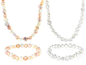 Multi-Color Cultured Freshwater Pearl Rhodium Over Silver Necklace & Stretch Bracelet Set 4