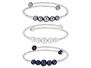 Multi-Color Cultured Freshwater Pearl With Glass Bead Stainless Steel & Silver Bangle Set of 3