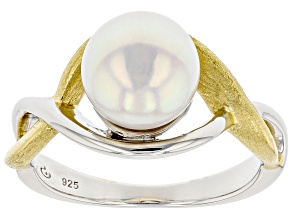 White Cultured Japanese Akoya Pearl Rhodium & 18k Yellow Gold Over Sterling Silver Ring