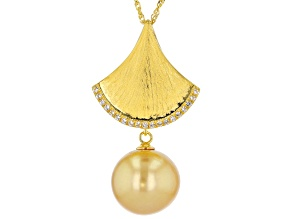 Golden Cultured South Sea Pearl & 0.25ctw White Topaz 18k Yellow Gold Over Sterling Silver Pendant