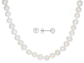 White Cultured Freshwater Pearl Rhodium Over Silver 18 Inch Necklace & Stud Earrings Set