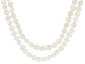 White Cultured Freshwater Pearl 62 & 64 Inch Endless Strand Necklace Set of 2