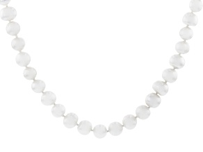 White Cultured Freshwater Pearl Rhodium Over Sterling Silver 24 Inch Strand Necklace