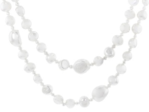 Cultured Freshwater Pearl Rhodium Over Silver 20 Inch Necklace & 48 Inch Endless Strand Set of 2