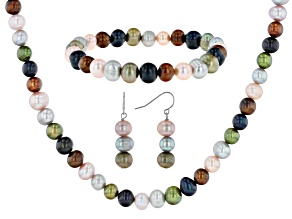 Multi-Color Cultured Freshwater Pearl Rhodium Over Silver Necklace, Bracelet, & Earrings Set
