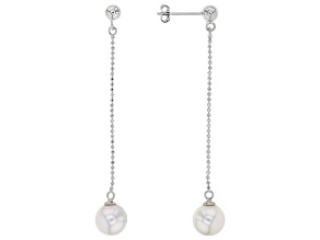 White Cultured Japanese Akoya Pearl Rhodium Over Sterling Silver Dangle Earrings
