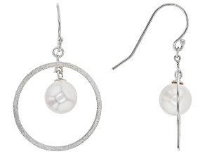 White Cultured Japanese Akoya Pearl Rhodium Over Sterling Silver Earrings