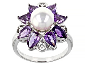 White Cultured Japanese Akoya Pearl & Amethyst Rhodium Over Sterling Silver Ring