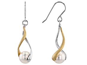 White Cultured Japanese Akoya Pearl Rhodium & 18k Yellow Gold Over Sterling Silver Earrings
