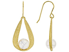 White Cultured Japanese Akoya Pearl 18k Yellow Gold Over Sterling Silver Earrings