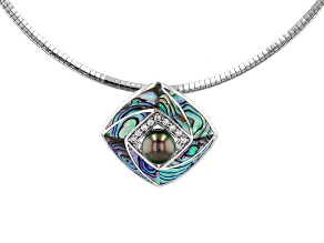 Cultured Tahitian Pearl, Abalone Shell, & Zircon Rhodium Over Silver Pendant With Omega Chain
