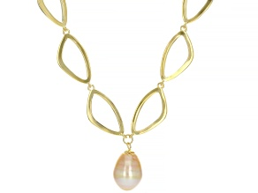 Golden Cultured South Sea Pearl 18k Yellow Gold Over Sterling Silver 20 Inch Necklace
