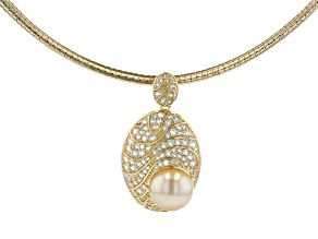 Golden Cultured South Sea Pearl & White Topaz 18k Yellow Gold Over Silver Pendant With Omega Chain