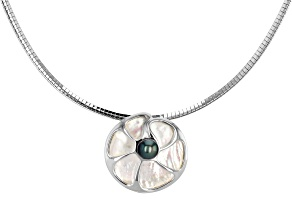 Cultured Tahitian Pearl & South Sea Mother-of-Pearl Rhodium Over Silver Pendant With Omega Chain