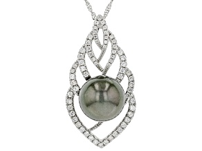Cultured Tahitian Pearl &  1.25ctw White Zircon Rhodium Over Sterling Silver Pendant