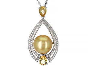 Golden Cultured South Sea Pearl, Citrine, & Topaz Rhodium Over Sterling Silver Pendant