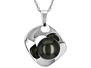 Cultured Tahitian Pearl Rhodium Over Sterling Silver Pendant With Chain