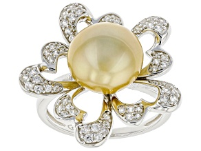 Golden Cultured South Sea Pearl & 0.15ctw White Zircon Rhodium Over Sterling Silver Ring