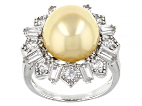 Golden Cultured South Pearl & 1.80ctw White Zircon Rhodium Over Sterling Silver Ring