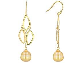 Golden Cultured South Sea Pearl 18k Yellow Gold Over Sterling Silver Dangle Earrings