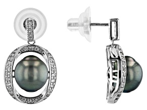 Cultured Tahitian Pearl & White Zircon Rhodium Over Sterling Silver Earrings