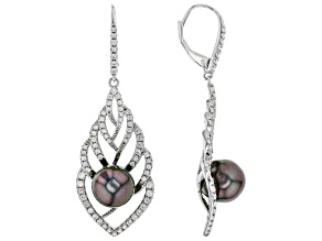 Cultured Tahitian Pearl & 2.05ctw White Zircon Rhodium Over Sterling Silver Earrings