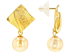 Golden Cultured South Sea Pearl 18k Yellow Gold Over Sterling Silver Earrings