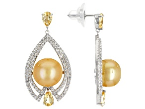 Golden Cultured South Sea Pearl, Citrine, & Topaz Rhodium Over Sterling Silver Earrings