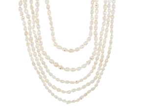 White Cultured Freshwater Pearl Endless Necklace Set of Five