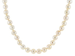 White Cultured Freshwater Pearl Rhodium Over Sterling Silver 24 Inch Necklace