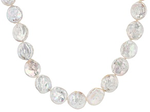 Coin White Cultured Freshwater Pearl Rhodium Over Sterling Silver 20 Inch Necklace