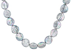 Coin Platinum Cultured Freshwater Pearl Rhodium Over Sterling Silver 20 Inch Necklace