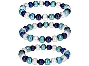 Multi-Color Cultured Freshwater Pearl Stretch Bracelet Set of 3