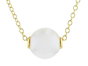 8.5-9mm White Cultured Freshwater Pearl 18k Yellow Gold Over Sterling Silver 18 Inch Necklace