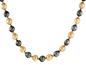 Golden Cultured South Sea & Tahitian Pearl Rhodium Over Sterling Silver 18 Inch Necklace
