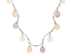 Multi-Color Cultured Freshwater Pearl Rhodium Over Sterling Silver 18 Inch Necklace