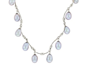 Silver Cultured Freshwater Pearl Rhodium Over Sterling Silver 18 Inch Necklace