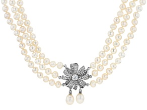 White Cultured Freshwater Pearl & Cubic Zirconia Rhodium Over Sterling Silver Multi-Row Necklace