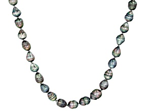 Multi-Color Cultured Tahitian Pearl Rhodium Over Sterling Silver 24 Inch Strand Necklace