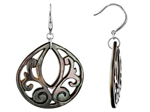 Tahitian Carved Mother-of-Pearl Rhodium Over Sterling Silver Earrings