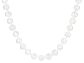 White Cultured Japanese Akoya Pearl 14k Yellow Gold 18 Inch Strand Necklace