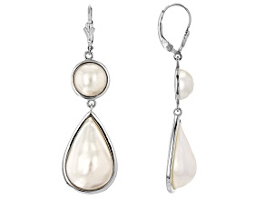White Cultured South Sea Mabe Pearl Rhodium Over Sterling Silver Dangle Earrings