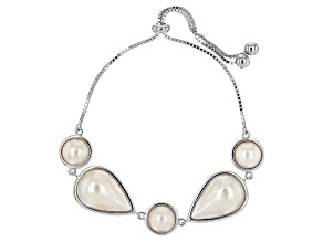 White Cultured South Sea Mabe Pearl Rhodium Over Sterling Silver Adjustable Bracelet