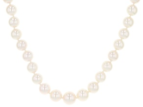 White Cultured Japanese Akoya Pearl 14k Yellow Gold 18 Inch Graduated Strand Necklace
