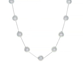Platinum Cultured Japanese Akoya Pearl Rhodium Over Sterling Silver 18 Inch Necklace