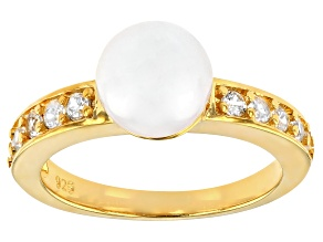 White Cultured Japanese Akoya Pearl & White Zircon 14k Yellow Gold Over Sterling Silver Ring