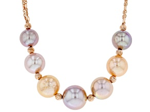 Multi-Color Cultured Freshwater Pearl 18k Rose Gold Over Sterling Silver Necklace