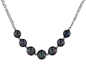 Black Cultured Freshwater Pearl Rhodium Over Sterling Silver 18 Inch Necklace