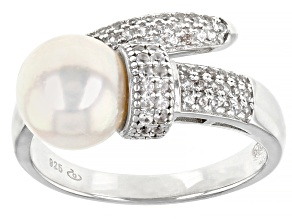 White Cultured Japanese Akoya Pearl & White Zircon Rhodium Over Sterling Silver Ring