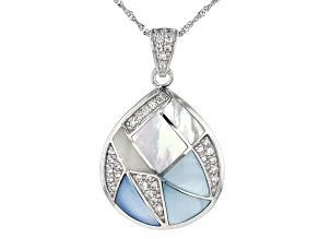 Blue & White South Sea Mother-of-Pearl & White Zircon Rhodium Over Sterling Silver Pendant